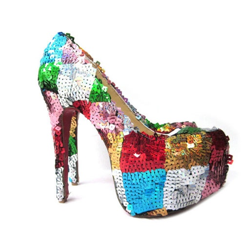 Christian Louboutin Daffodile Brodee 160 Bling Sequin Multicolor160Mm Bling, Bling Sequins, 160Mm Pump, Bling Multicolored, Christian Louboutin, Louboutin Shoes, Daffodils Brodees, Louboutin Daffodils, Daffodils Shoes
