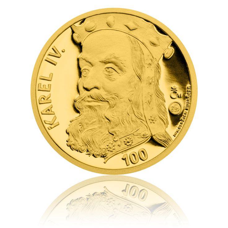Zlatá medaile ve váze 40dukátu s motivem 100 Kč bankovky - Karel IV. stand