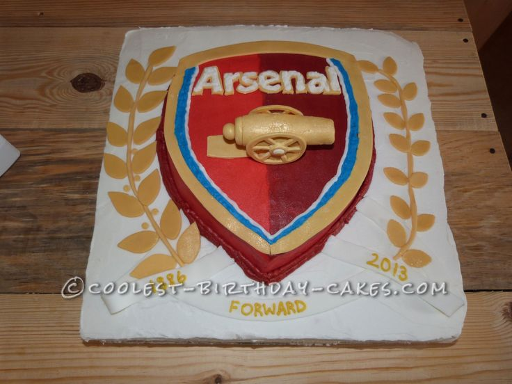 Awesome Arsenal Football Club Cake for a Soccer Fanatic... This website is the Pinterest of birthday cake ideas