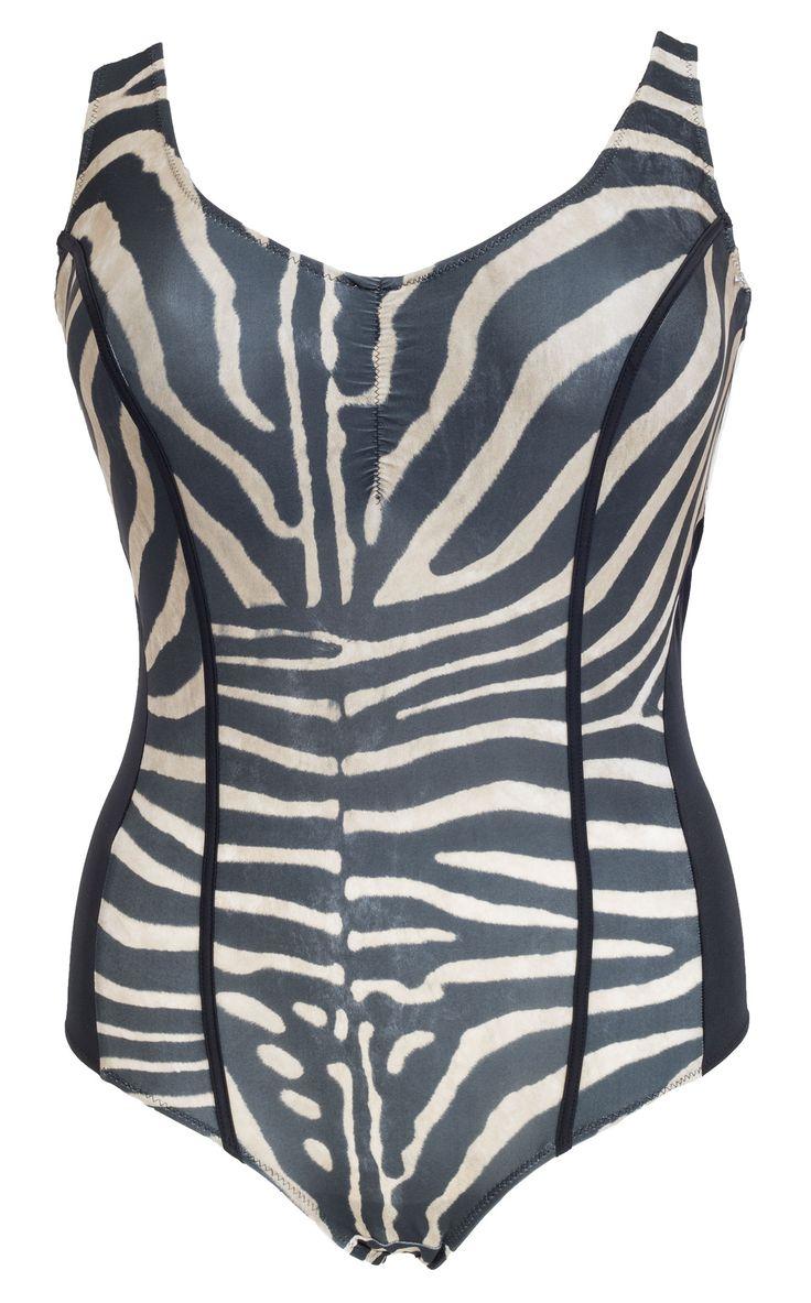 Super fede Sort plus size badedragt med dyreprint Plaisir Modetøj til Damer i behageligt materiale