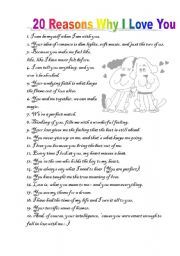 5 Reasons Why I Love You Quotes : English worksheet: 20 reasons why I love you Love Quotes Pinterest ...