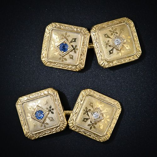 Antique Cufflinks   Antique Diamond and Sapphire Cufflinks - 130-1-225 - Lang Antiques