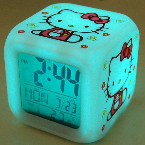 $7.55 Hello Kitty Desk Alarm Clock Thermometer Glow  From Hello Kitty   Get it here: http://astore.amazon.com/ffiilliipp-20/detail/B004W80DU8/180-2080741-2830215