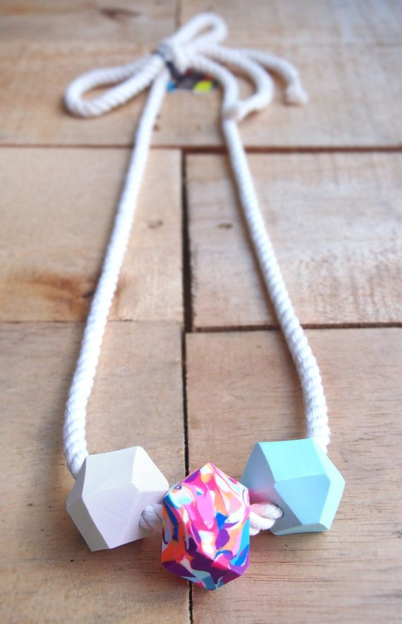 Chunky Rope Necklace  Mint Rainbow by fruitloopjewellery on Etsy