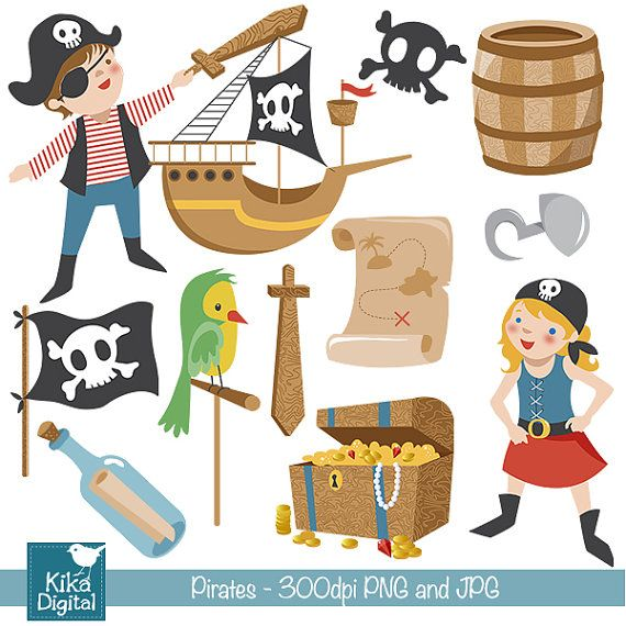 INSTANT DOWNLOAD Pirates Digital Clipart - Scrapbooking , card design, invitations, stickers, paper crafts, web design