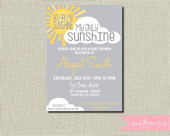 You Are My Sunshine, Sunshine Baby Shower Invitation, Our Little Sunshine, Sunshine  Invitation, Baby Shower Invitation, Digital Printable