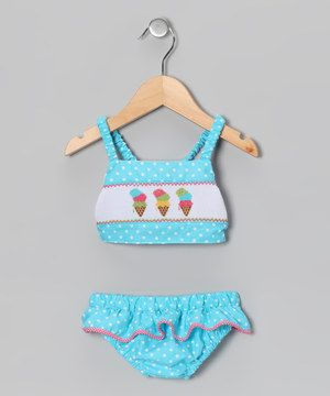 Love this Light Turquoise Polka Dot Ice Cream Tankini - Infant & Toddler by Fairies Kid on #zulily! #zulilyfinds