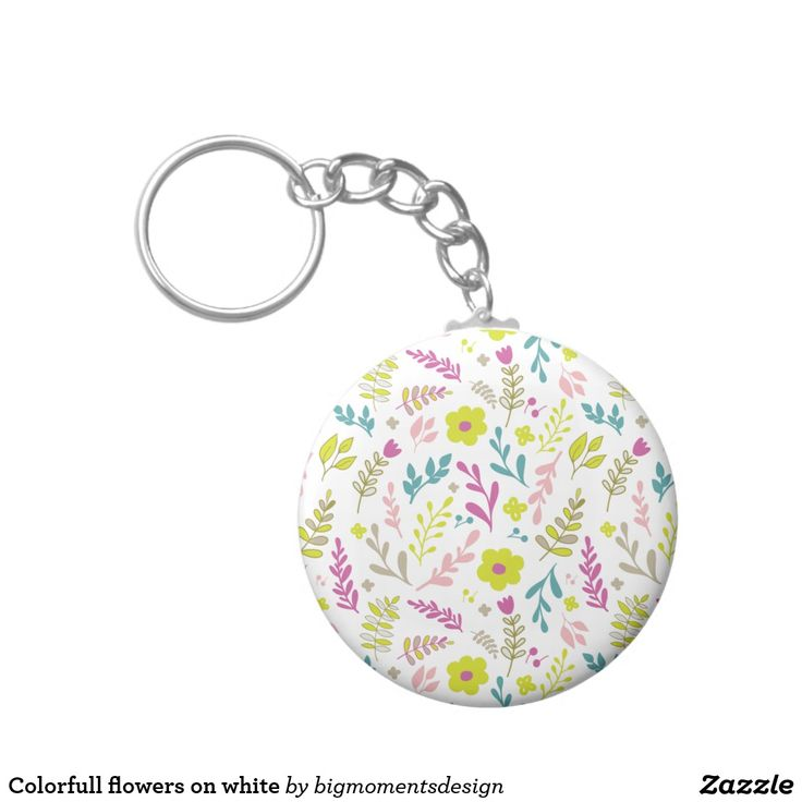 Colorfull flowers on white keychain