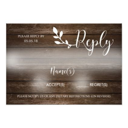 #modern - #Wooden Rustic Reply Card