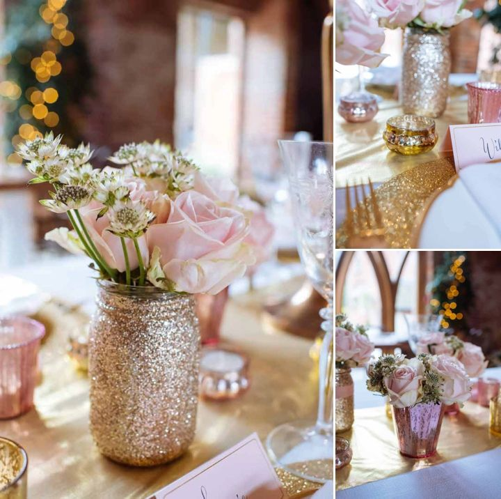 Blush pink and gold glitter marry perfectly to create a fairytale winter wedding.