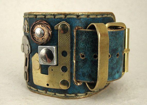 206 Wabi Sabi Steampunk Palimpsest Bracelet by ShabbyLuxury
