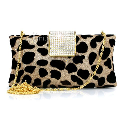 Elegant Evening Bag Ripple Animal Velvet Elegant Crystals