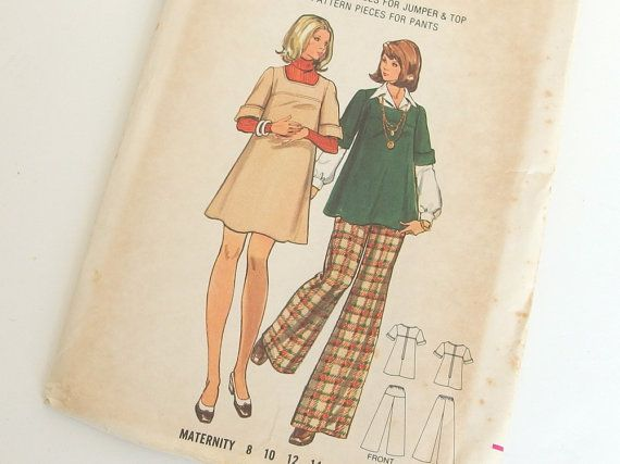 Vintage 1970s Maternity Jumper Dress and Pants Sewing Pattern, Butterick 3210, Bust 36 Inches, Size 14