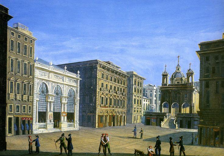 Anonimo // Piazza Banchi a Genova // primi anni del XIX sec., incisione colorata a tempera