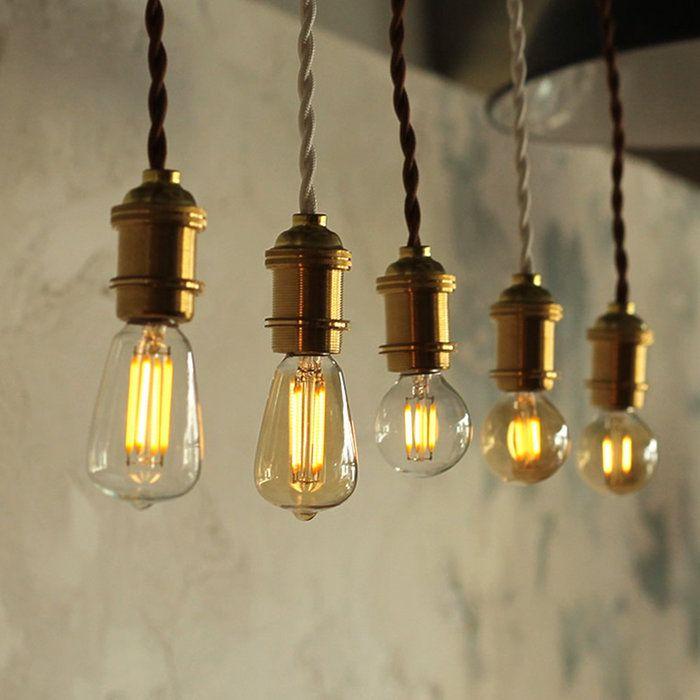 エジソン電球e17付き E17 真鍮ゴールド 50cm ペンダントソケット