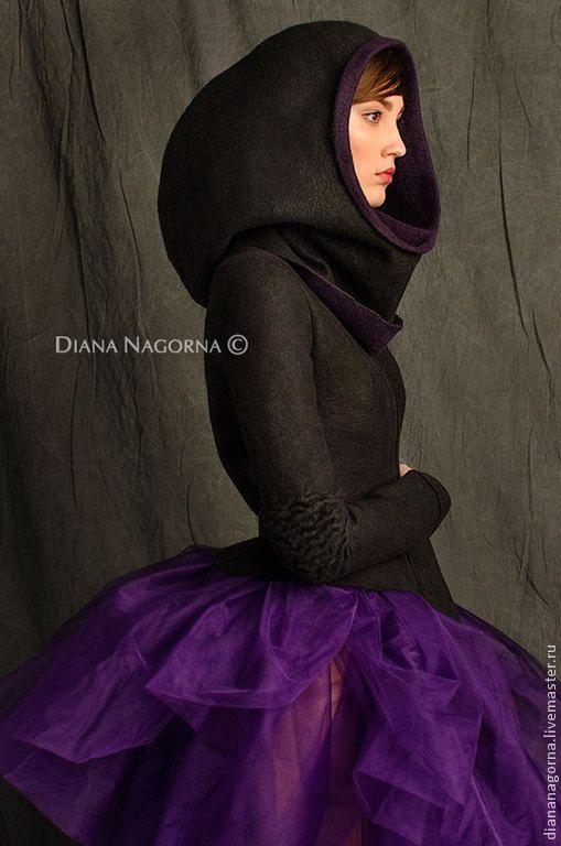 """Купить Куртка из мериносовой шерсти """"Space girl"""" - темно-фиолетовый, однотонный, куртка, куртка женская"""