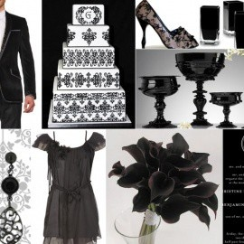 wedding theme - black and white, very glamorous!