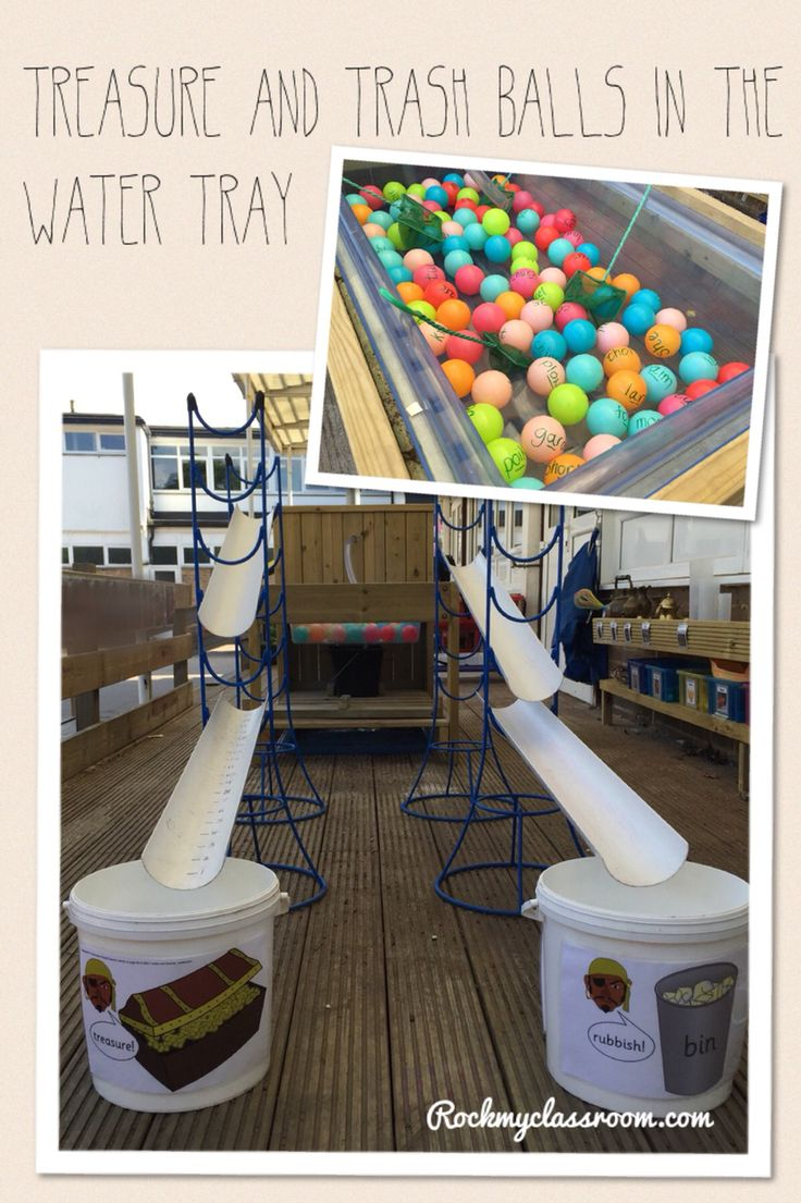 EYFS phonics - Treasure & trash game at the water tray. Phase 3 real & silly words written on the balls for the children to shoot down the guttering into the appropriate bucket.