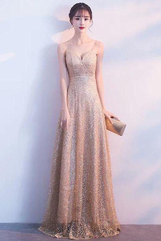 c770f87e Delightful Prom Dresses Sparkly Long Elegant V-neck Floor Length Graduation  Dresses Prom Dresses by RosyProm, $186.19 USD