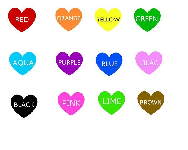 Lär dig engelska färger genom hjärtformer