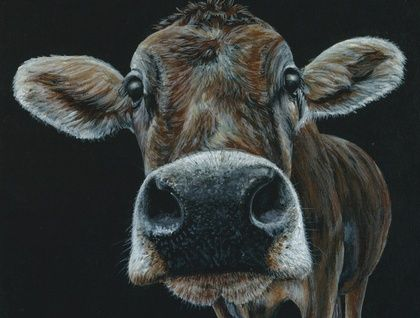 Brown Cow A4 Print of an original painting by Jodie McLay