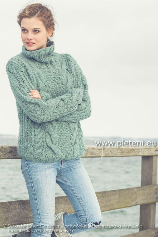 dámský ručně pletený svetr rolák z příze Siberia