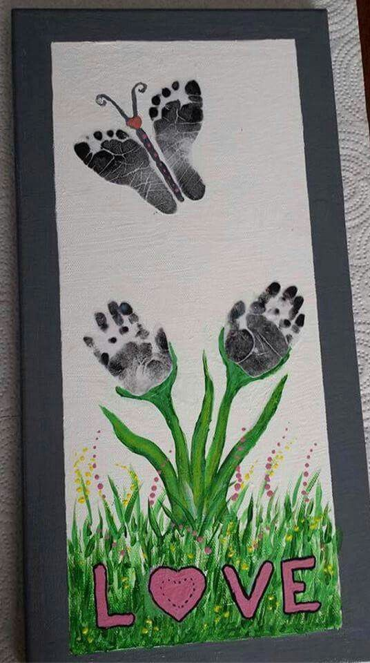 Butterfly footprints & flower hand prints