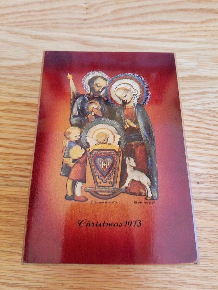 Vintage Nativity Hummel Christmas Music Box 1973 First Edition Silent Night red #Hummel