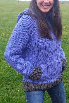 Knitting Pattern for Quick Sweatshirt Style Sweater - The designer says this can be finished in a weekend. Sweatshirt-style hooded pullover with kangaroo front pockets is a quick knit in super bulky yarn. Sizes: 40″, 44″, 48″, 52″, 56″, 60″ chest circumference