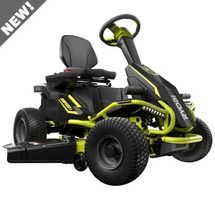 Check out this RYOBI product -  Visit the interactive landing page to learn more about this mower.  Environmentally friendly. Virtually maintenance free. Super quiet. Intuitive operation. With the RM480E, you get all the benefits of owning a fully electric riding lawn mower without sacrificing power, performance or features.