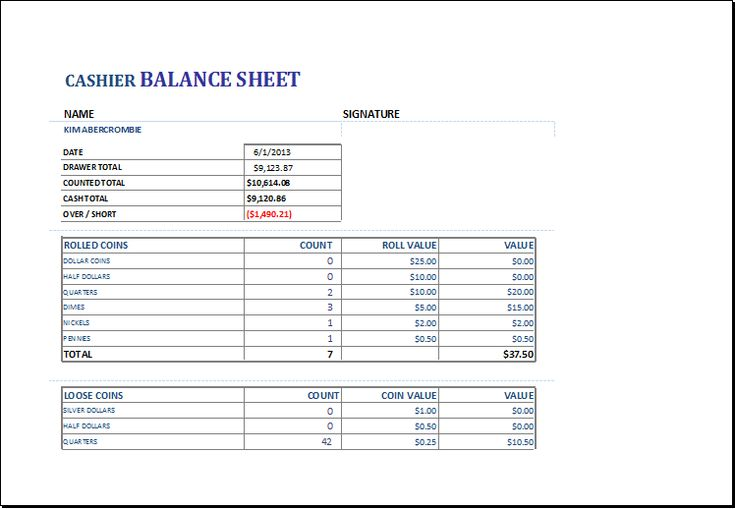cashier balance sheet download at       xltemplates org  cashier