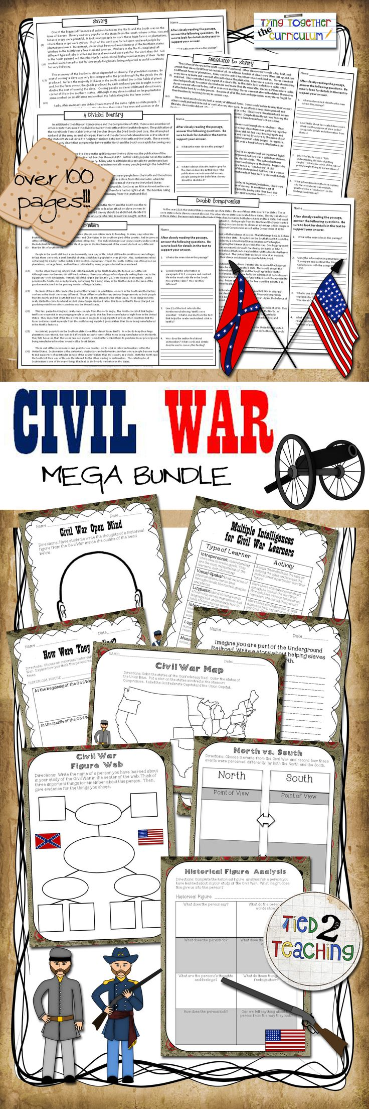 Close Reading (Civil War) Giant 3-in-1 Value Bundle is a must have for every teacher trying to get in all those Common Core Standards while at the same time work through a unit on the American Civil War!  These close reading packs includes 10 close reading informational passages on a variety of highly tested topics pertaining to events surrounding the Civil War. Each prompt drives students back to the text asking them to use information to support their answer from the text.