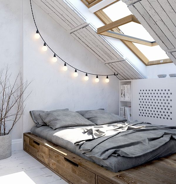 The platform bed, the placement under the slanted ceiling, the light fixture, the window....