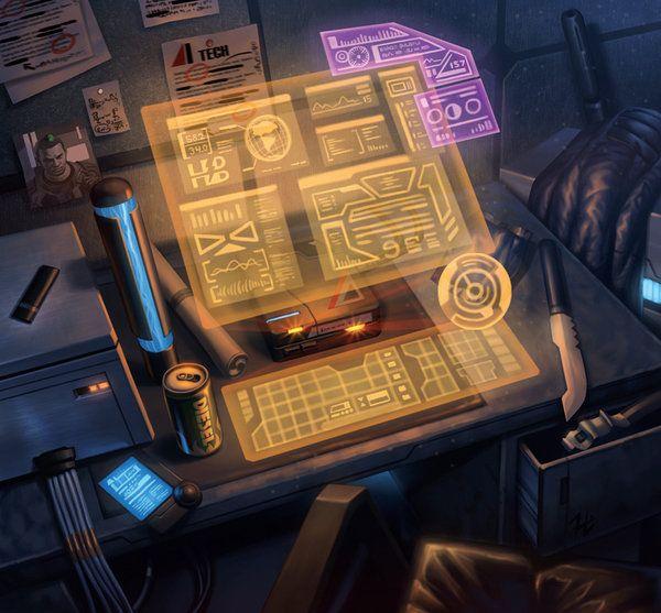 Hmm - a holographic/virtual deck. Sweet! ~ Cyberpunk, The Toolbox by Webcomicfan on deviantART