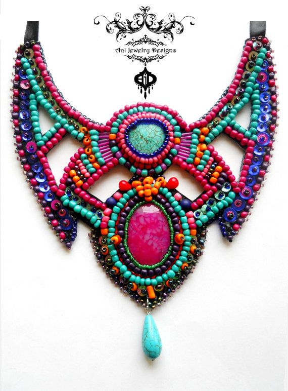 Bead embroidery necklace - Maratus volans- bib collar boho hippie psy necklace with Dragon Vein Pink Agate -Turquoise - glass beads- couture