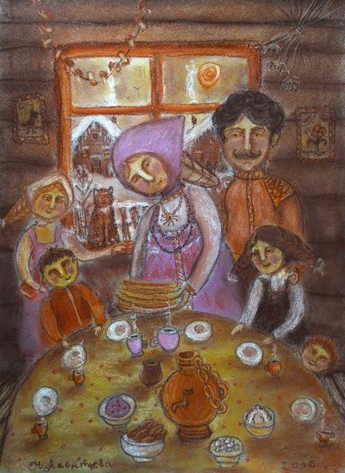 Просмотреть иллюстрацию Праздник из сообщества русскоязычных художников автора Наталья Леонтьева в стилях: Графика, Детский, Примитивизм, нарисованная техниками: Графика, Пастель.