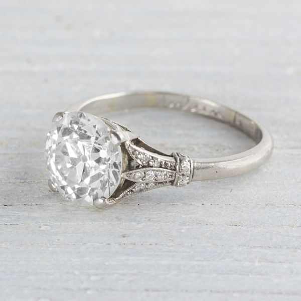 2.95 Carat Diamond Art Deco Engagement Ring | Erstwhile Jewelry Co.  I like this design for grandmas oval diamond