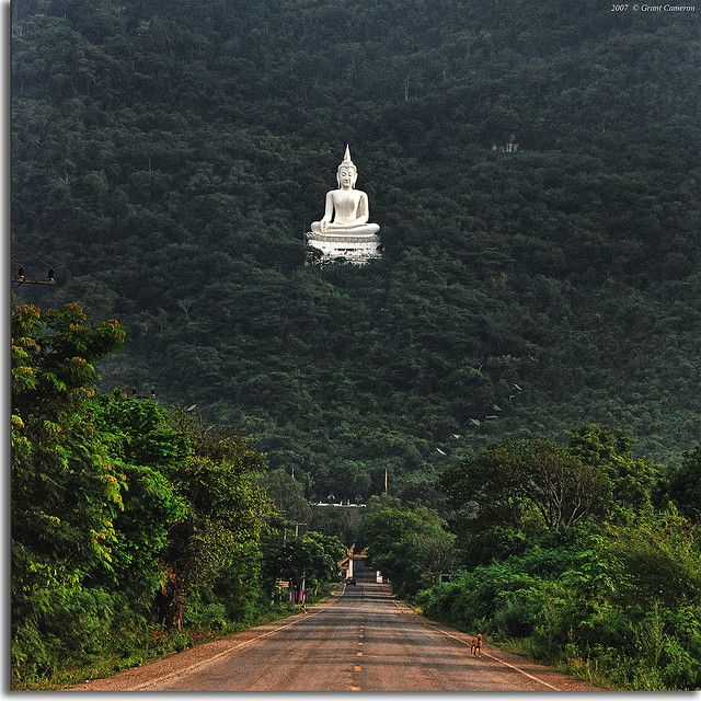 The giant white marble Buddha of Wat Thep Phitak Punnaram in Klang Dong, Amphoe Pakchong,  Nakhon Ratchasima province, Thailand, can be seen from miles.