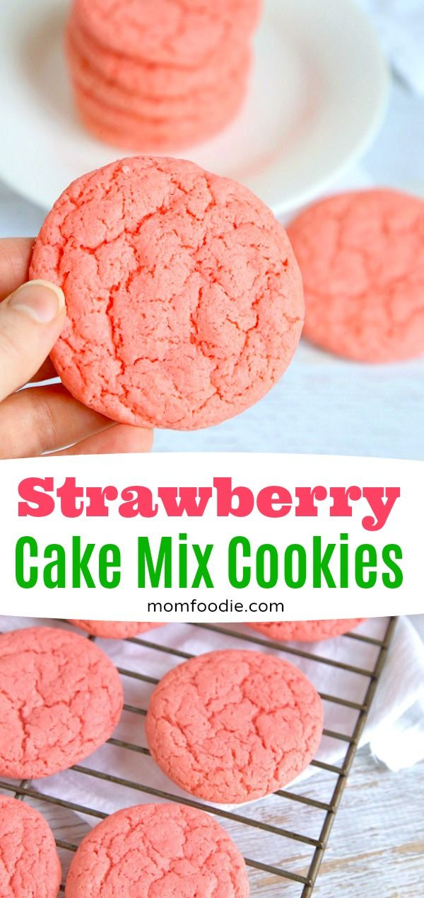 Strawberry Cake Mix Cookies Easy 3 Ingredient Cookie Recipe