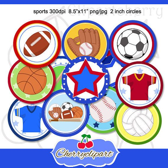 Sports Printable Cupcake Toppers Bag Tags 2 inch by Cherryclipart, $2.50