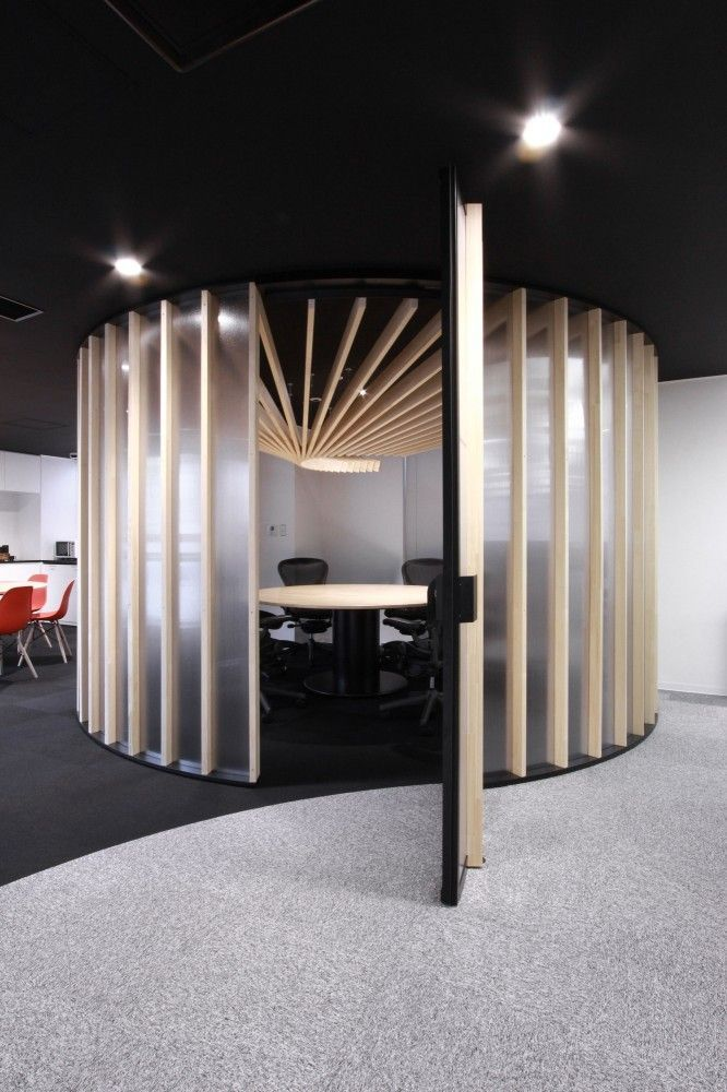 round central meeting room is comprised of an elegant timber frame supporting polycarbonate walls to enclose more sensitive internal meetings, CDS Offices, by BAKOKO