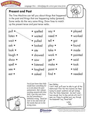 present and past printable worksheet on tenses learning tips tools verbs for kids english. Black Bedroom Furniture Sets. Home Design Ideas
