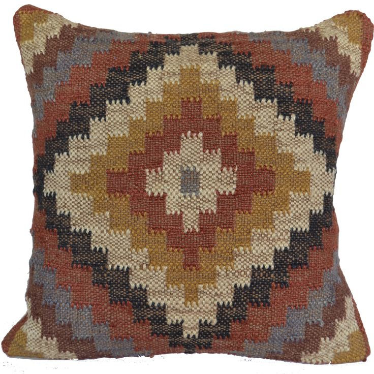 "16"" Kilim Woollen Jute and Cotton Mix - Handmade Cushion Cover"
