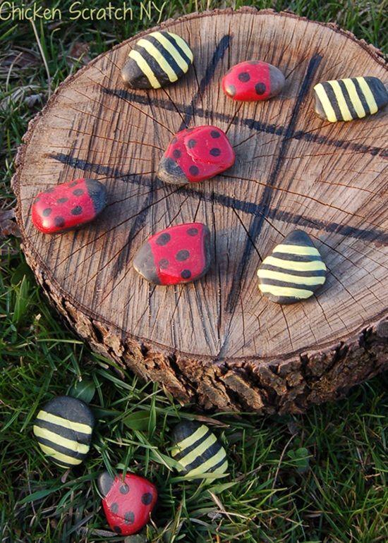 Make A Backyard Tic-Tac-Toe Board