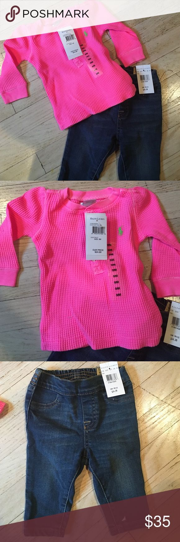 9m Ralph Lauren Polo Outfit Brand new with tags. I bought it as a gift & never gave it to the recipient. I even have the gift receipt. The top was $25 the jeggings were $35. I'll sell both pieces for $35 Polo by Ralph Lauren Matching Sets