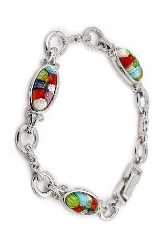 Charming Murano Millefiori Oval Glass Silver Bracelet LusterForever. $71.20. Save 67% Off!