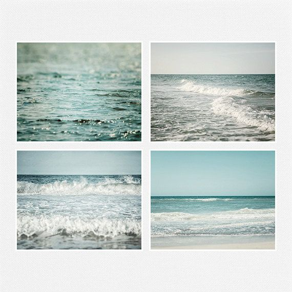 Ocean Art, Beach Decor Print Set of 4, Landscape Photography, Blue, Teal, Aqua, Water Waves, Seascape, Sea, Beach Landscape. #beach #photography #landscape #print set