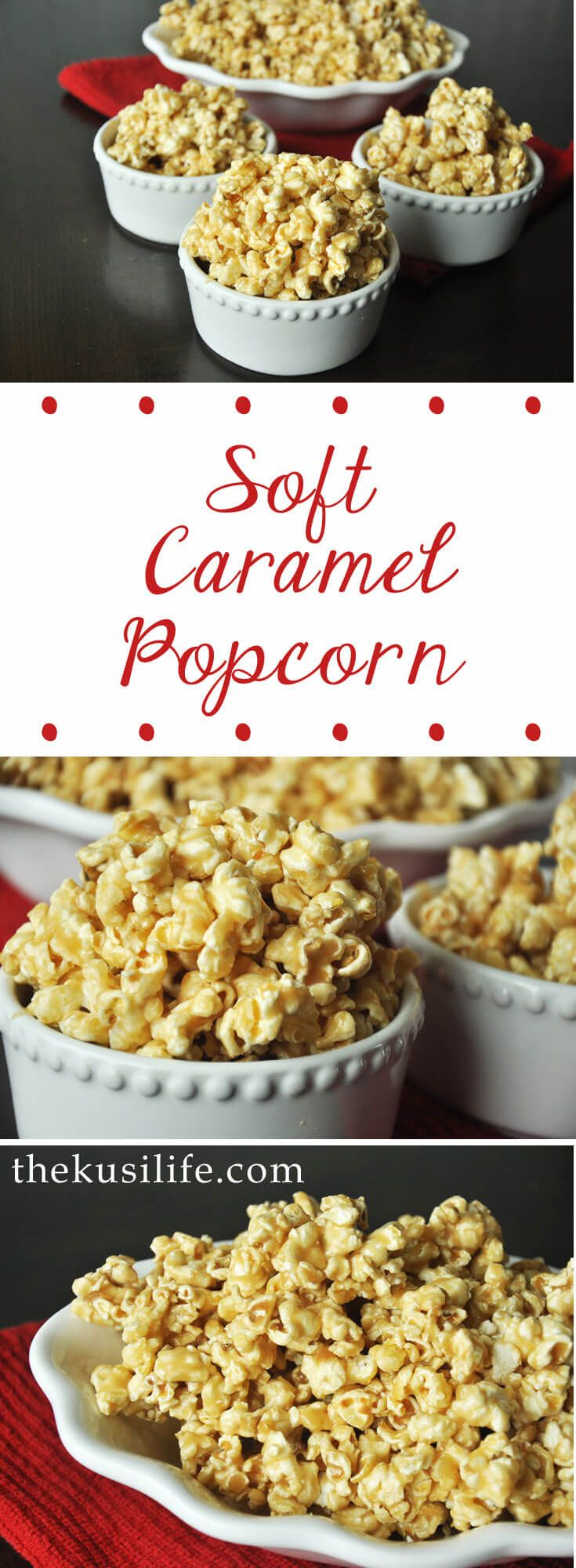 Soft Caramel Popcorn, with just 5 ingredients you can have caramel corn to feed a crowd, give away, or eat up alone!  - www.thekusilife.com  via @thekusilife