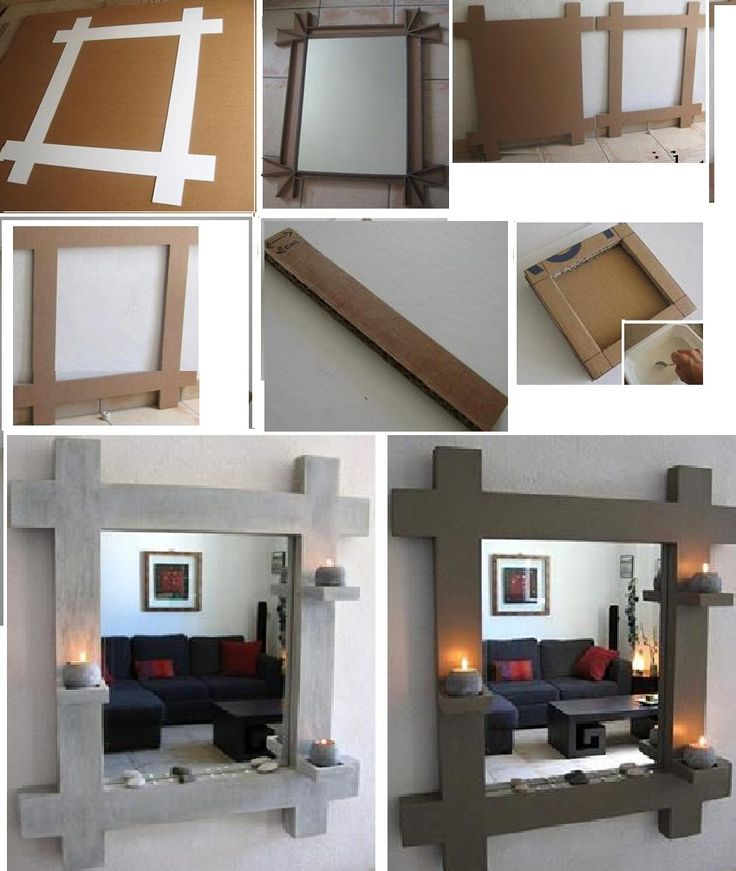 Diy espejo de carton reciclado canvas ideas pinterest for Espejos para lavabos