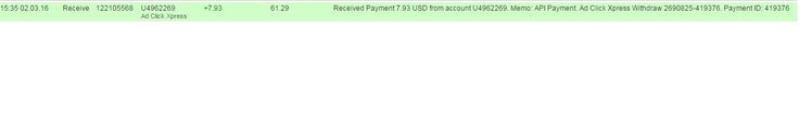 Here is my Withdrawal Proof from AdClickXpress. I get paid daily and I can withdraw daily. Online income is possible with ACX, who is definitely paying - no scam here. Date: 02/03/2016 15.35 To Pay Processor Account: U9530412 Amount: 7.93 Currency: USD Batch: 122105568 Memo: API Payment. Ad Click Xpress Withdraw 2690825-419376 http://www.adclickxpress.is/?r=anana271&p=mx